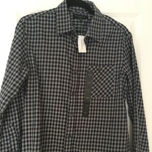 Banana Republic Standard Fit Navy Plaid Shirt